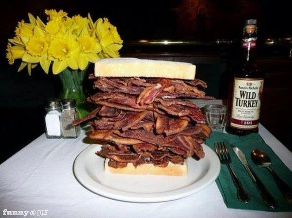 stacked bacon sandwich