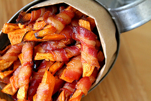 bacon wrapped sweet potato fries!!!!