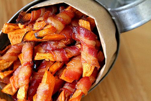 bacon wrapped sweet potato fries!!!!